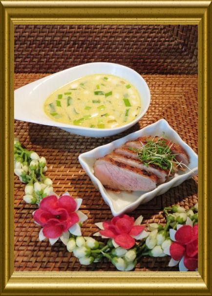 Curry-Kokos-Suppe mit Ente aus der Taraland Lehrküche