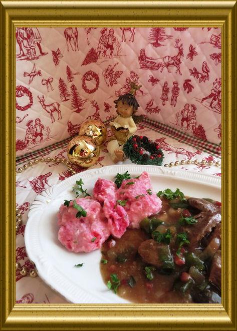Rehgeschnetzeltes mit Shitake Pilzen in Portweinsauce aus der Taraland Lehrküche