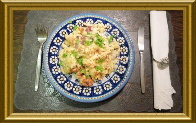 Käsespätzle mit Speck überbacken aus der Taraland Lehrküche