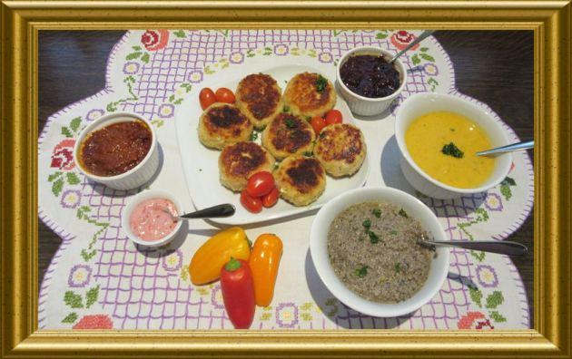 Hähnchenbratlinge mit verschiedenen Dips aus der Taraland Lehrküche