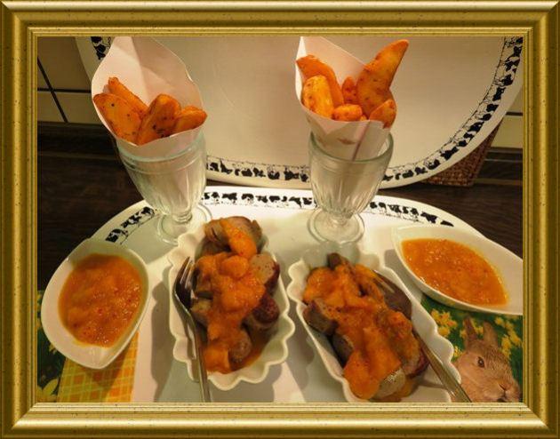 Currywurst mit Kürbisketchup Dip und Belgischen Fritten aus der Taraland Lehrküche