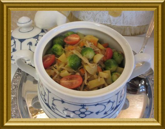 Rosenkohl-Mungobohnen-Topf aus der Taraland Lehrküche